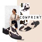Mule Cow Couro Bico Fino Preto e Branco Pelinho