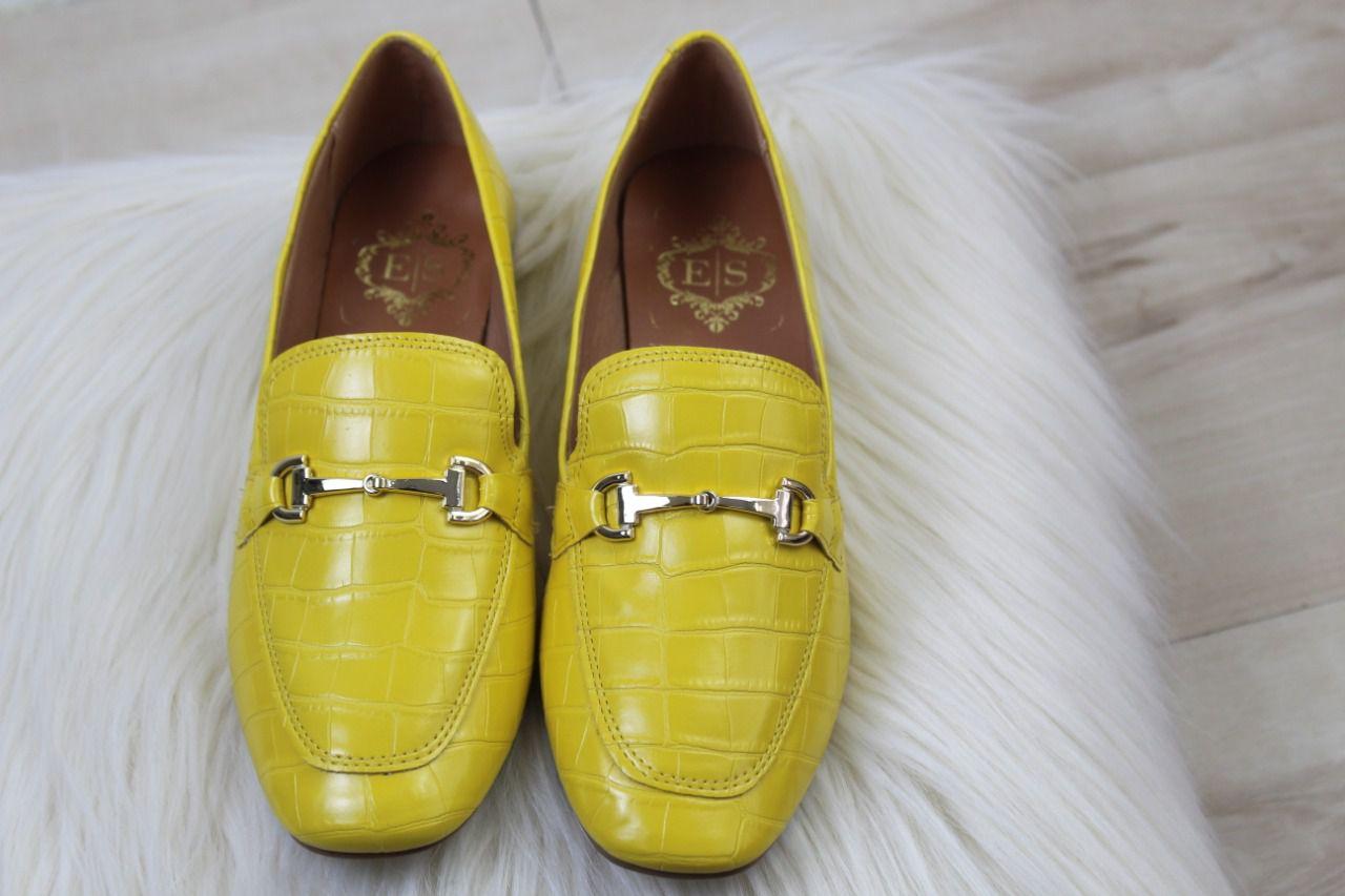 Mocassim Steave Bico Quadrado Napa Croco Amarelo