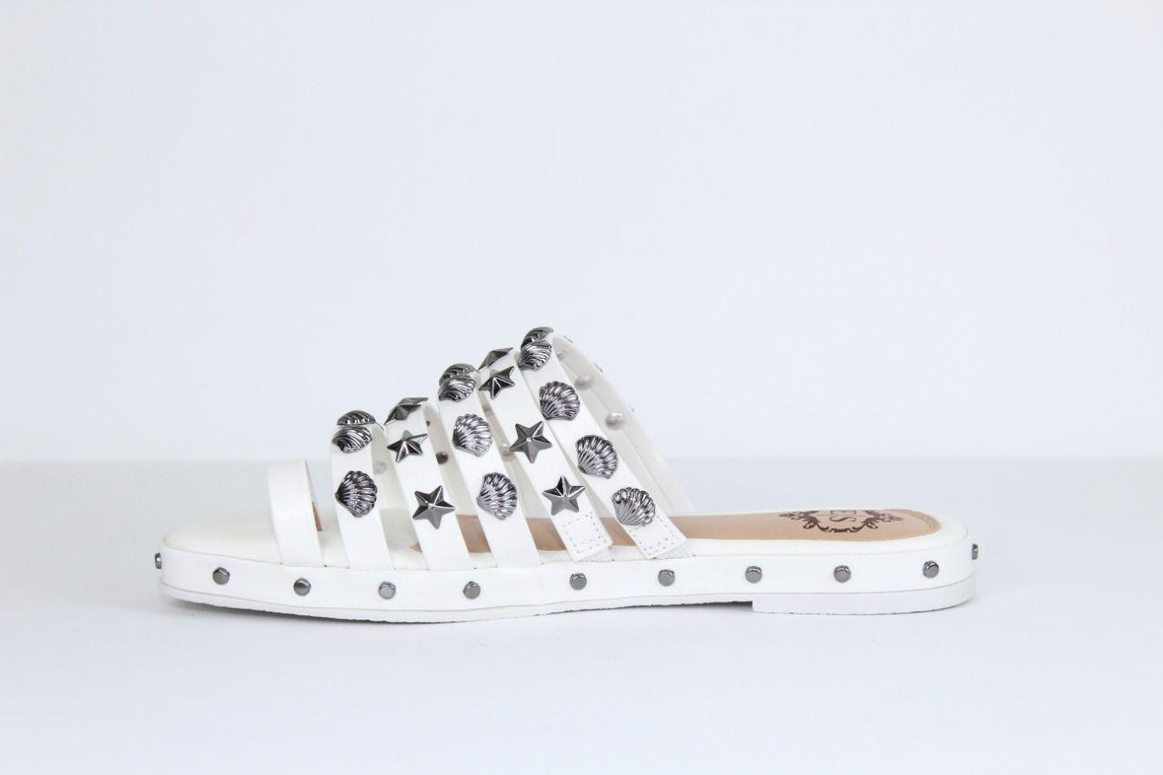 Rasteira Happy Confort Bico Quadrado Napa Branco Apliques
