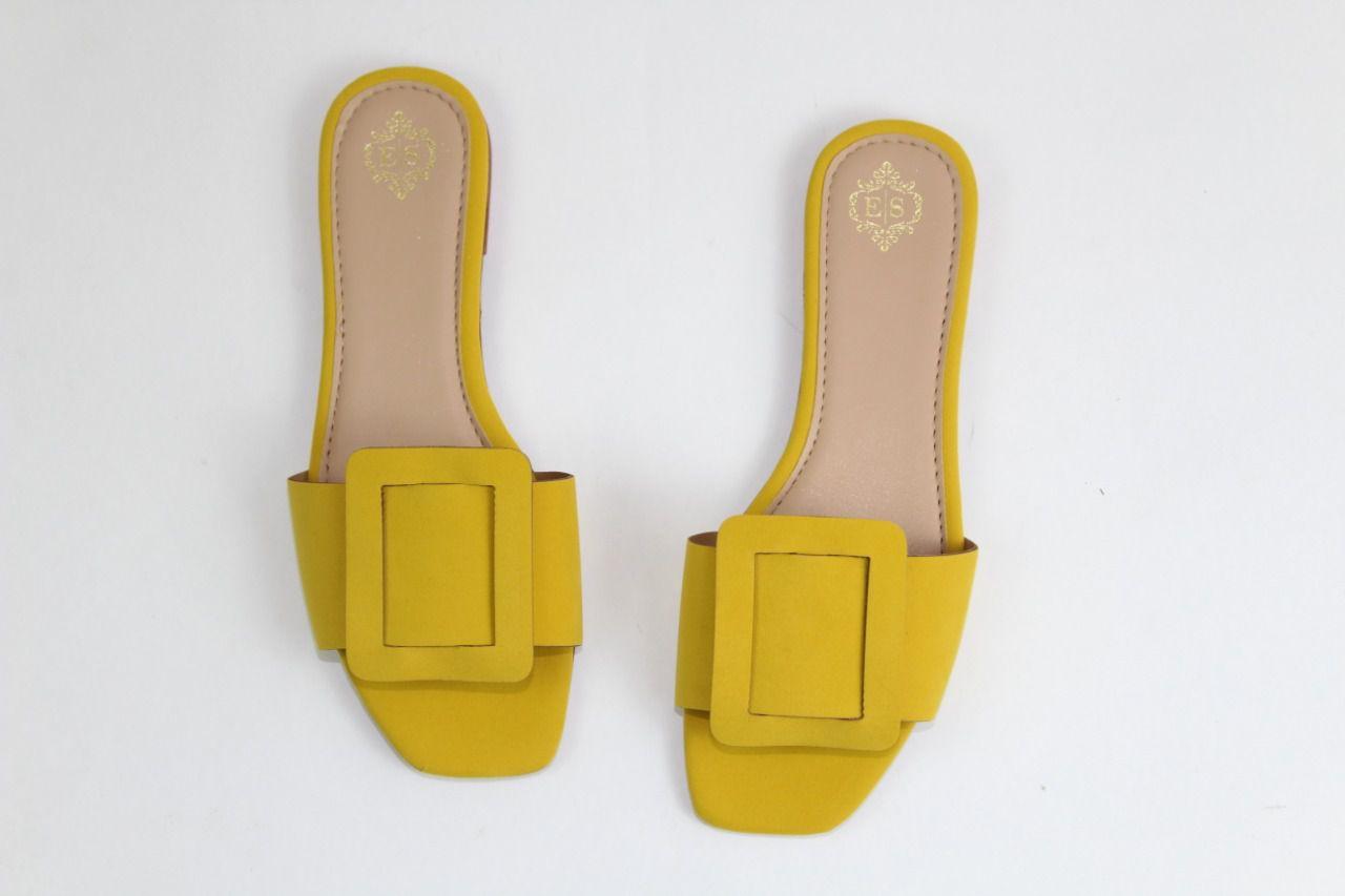 Rasteira Helo Bico Quadrado Nobuck Amarelo