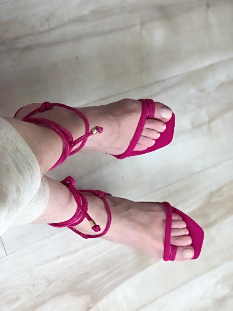 Sandália Bali Naked Bico Quadrado Suede Pink