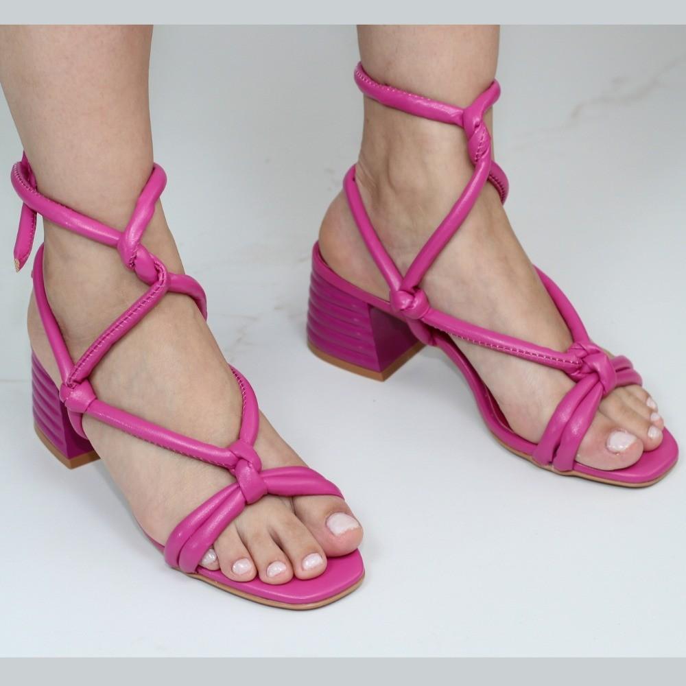 Sandália Fufly Pink Salto Bloco Amarração