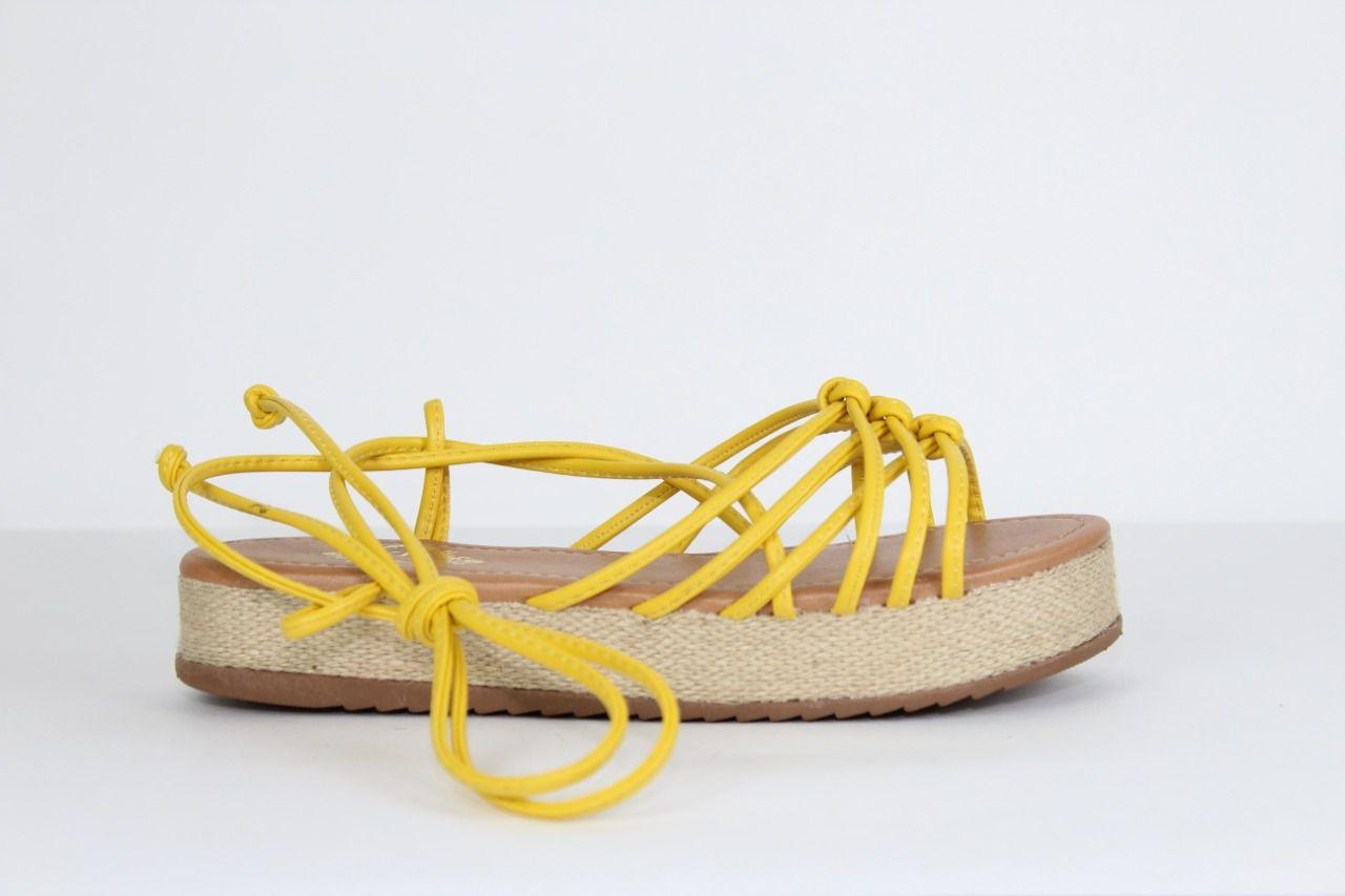Sandália Kate Flatform Napa Amarração Amarelo