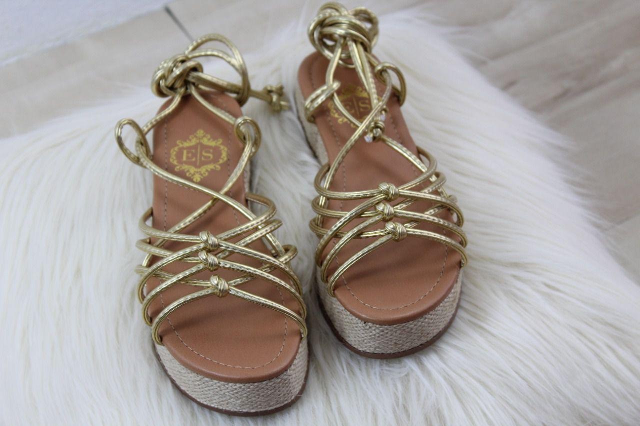 Sandália Kate Flatform Napa Amarração Dourado