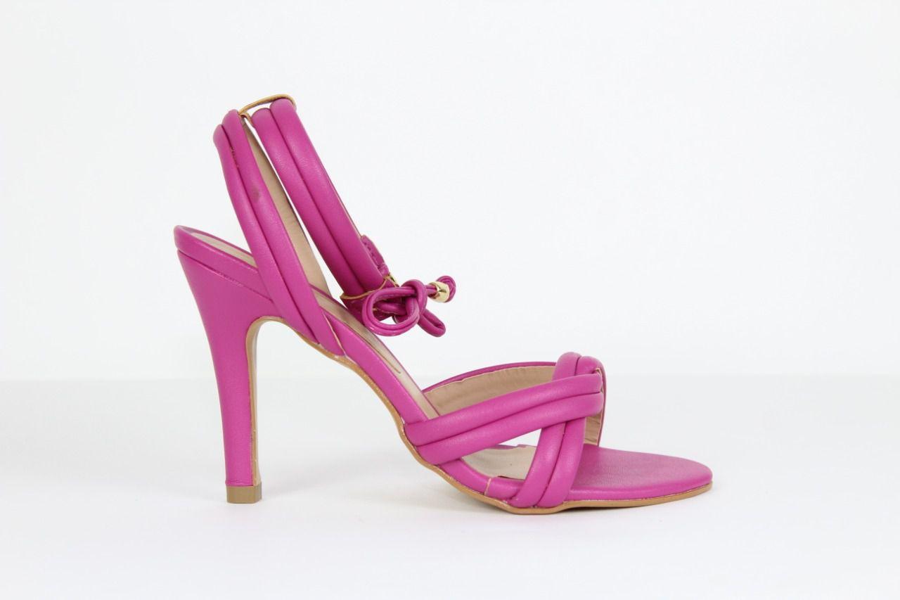 Sandália Montecarlo Bico Redondo Napa Pink Salto Alto