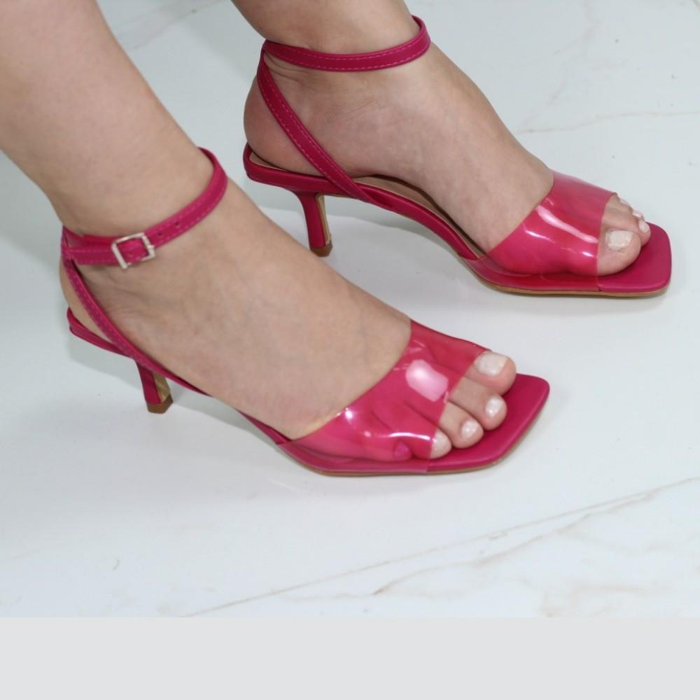 Sandália Selina Pink Vinil Bico Quadrado
