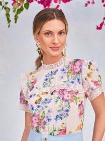 Blusa floral rendada