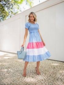 Vestido  color block lastex