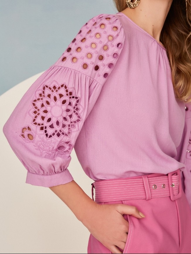 Blusa bordado manga