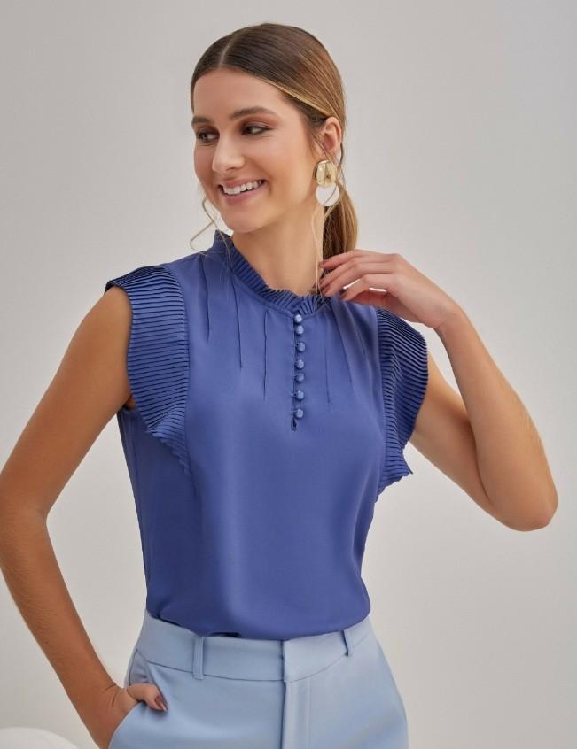 Blusa crepe detalhe plissado