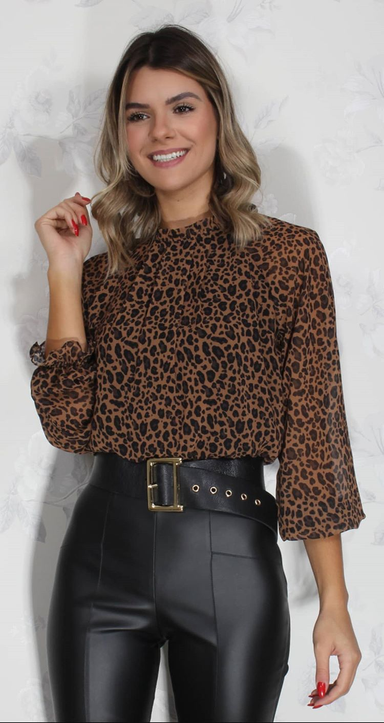 Blusa mg longa animal print