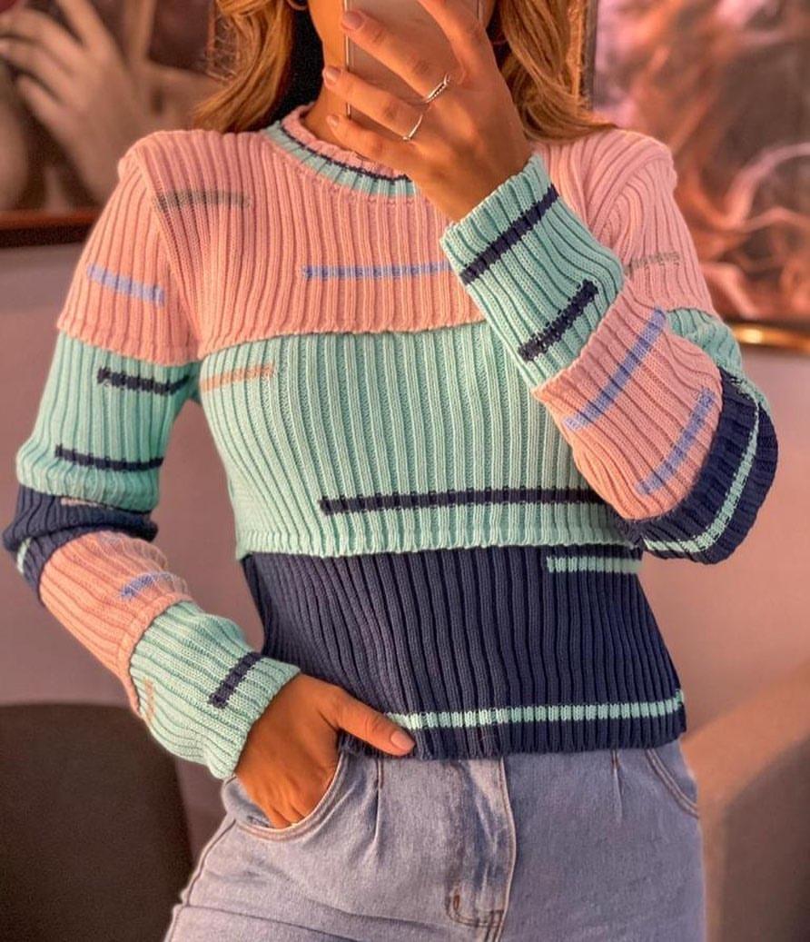 Blusa tricot listras