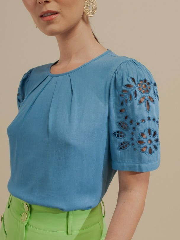 Blusa viscose manga bordado