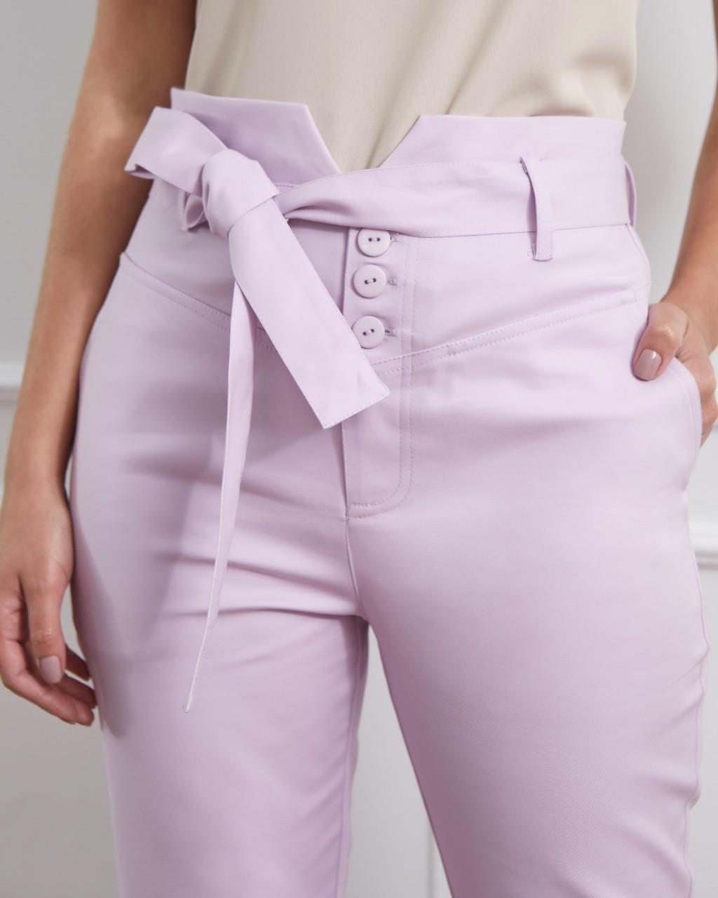 Calça skinny botões amarração