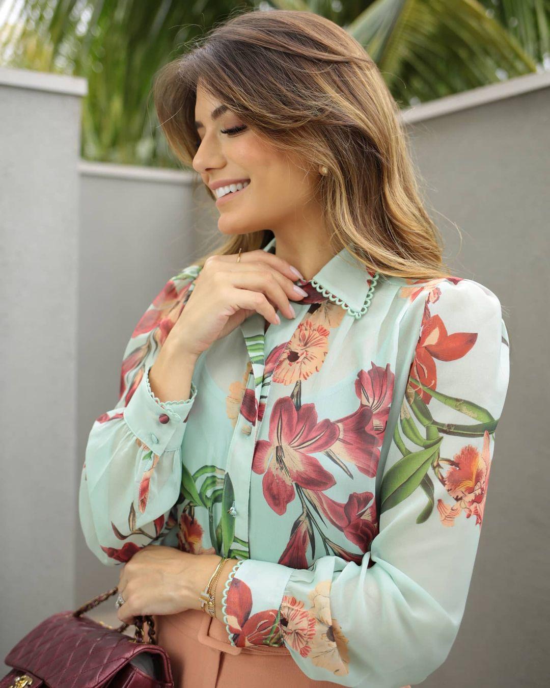 Camisa chiffon print floral