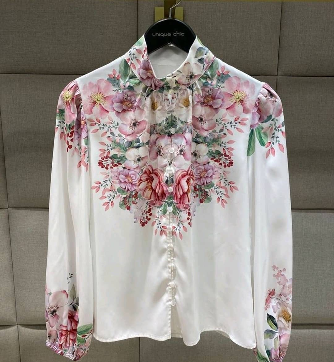 Camisa floral mg longa