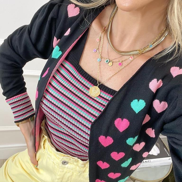 Twin set tricot corações