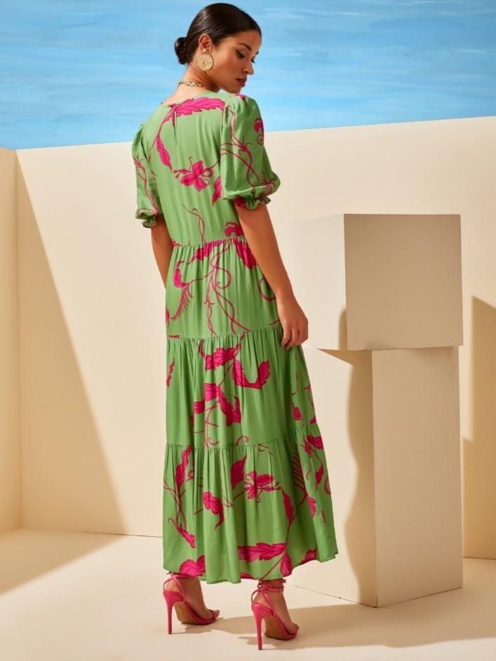 Vestido longo camadas folhagem