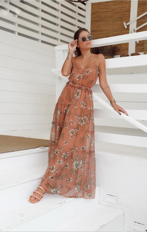 Vestido longo chiffon Gabriella
