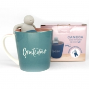 caneca com infusor para chá Gratidão 350ml - Zona Criativa