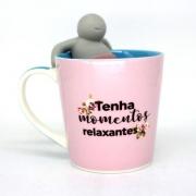 caneca com infusor para chá Pensamentos positivos 350ml - Zona Criativa