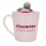 caneca com infusor para chá Poderosa 350ml - Zona Criativa