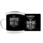 Caneca Rock And Roll Estilo Preta E Branca Alumínio 500 Ml