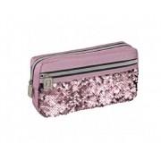 estojo escolar blush 1 compartimento + bolso rosa