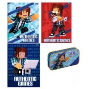 KIT caderno brochura 1/4, caderno brochurão e estojo authentic games Foroni