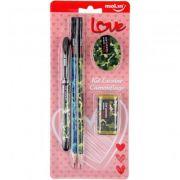 kit Caneta lápis  borracha e apontador camuflado