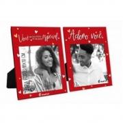 Porta Retrato Duplo 10X10Cm - Adoro Você Presente Namorados
