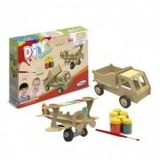Quebra Cabeça 28 Peças - Avião e Caminhão Para Pintura 3D