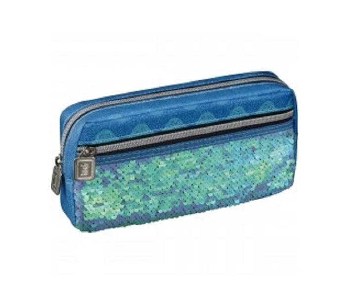 Estojo Escolar Bush 1 Compartimento com Bolso Azul