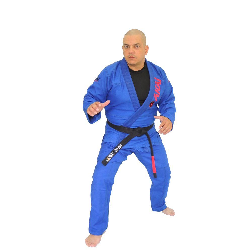 Kimono Jiu Jitsu Akai BJJ Profissional - Trançado Azul