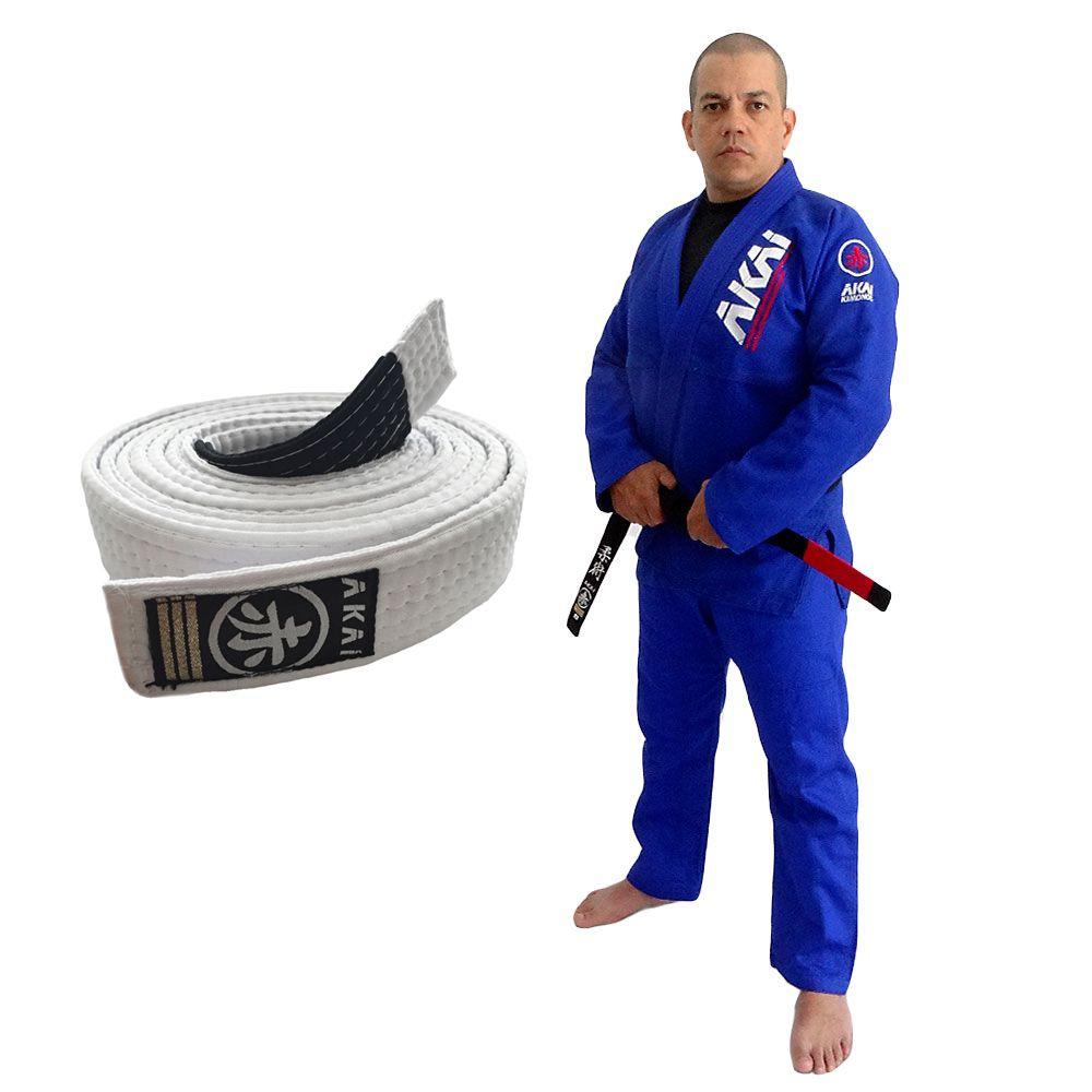 Kimono Jiu Jitsu Akai BJJ - Trançado Azul com Faixa Branca