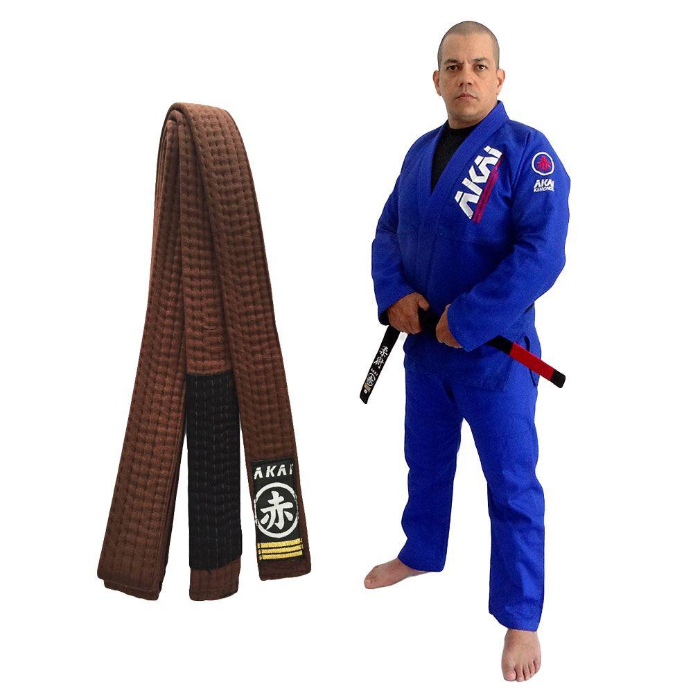 Kimono Jiu Jitsu Akai BJJ - Trançado Azul com Faixa Marron