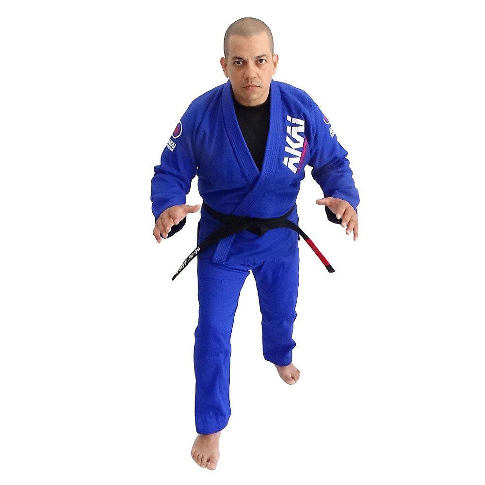 Kimono Jiu Jitsu AKAI LIGHT BJJ - Trançado Azul com Faixa Marron