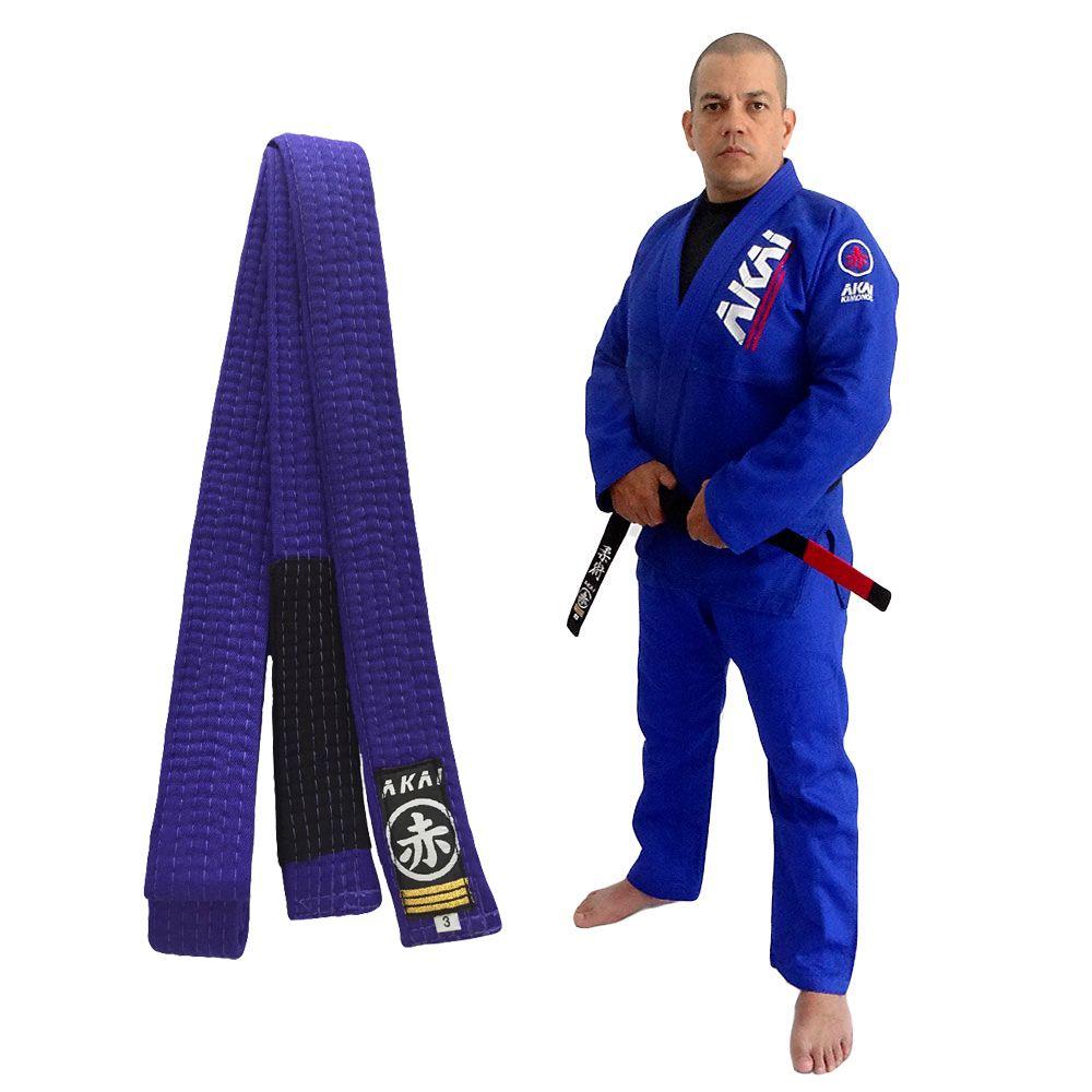 Kimono Jiu Jitsu Akai BJJ - Trançado Azul com Faixa Roxa