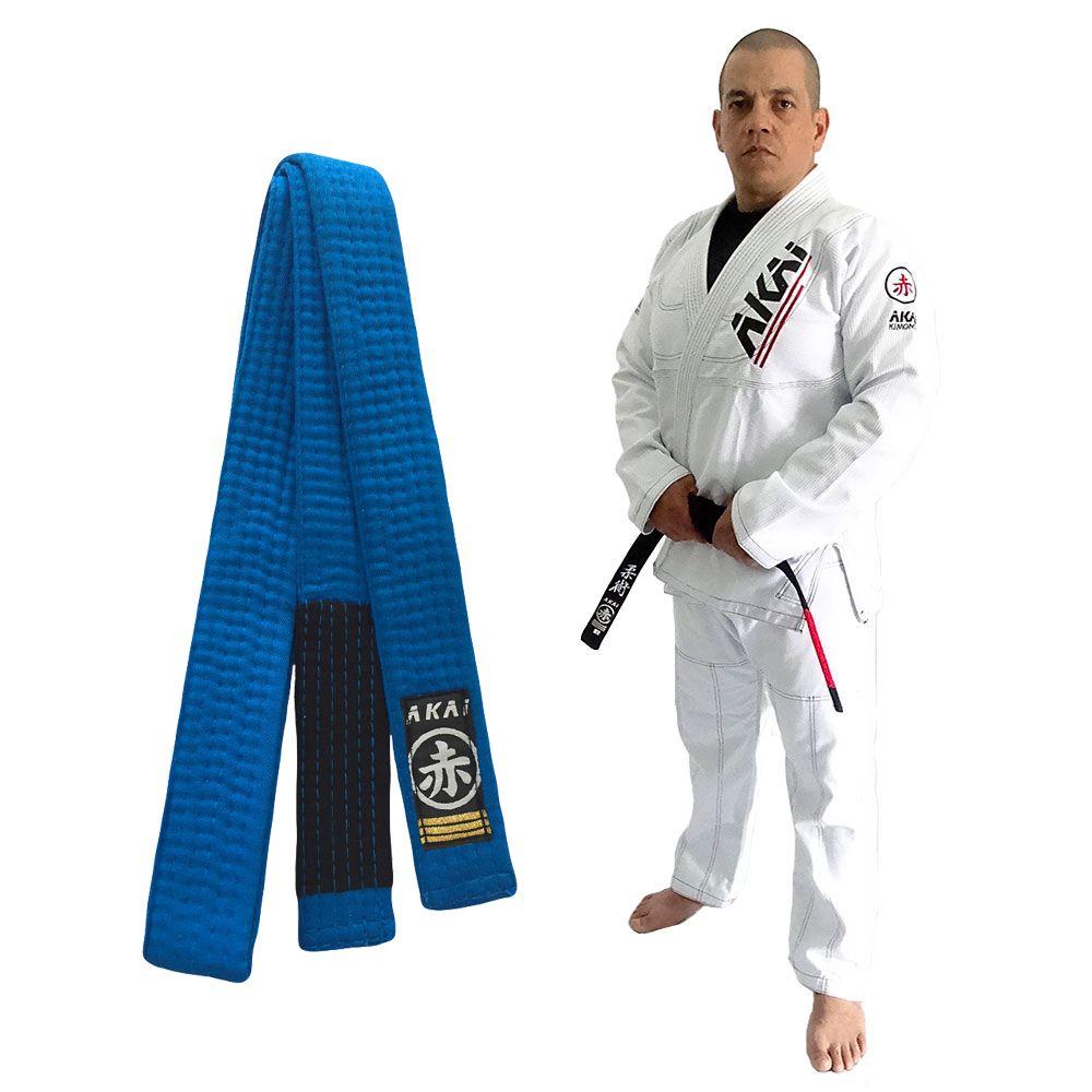 Kimono Jiu Jitsu Akai BJJ - Trançado Branco com Faixa Azul