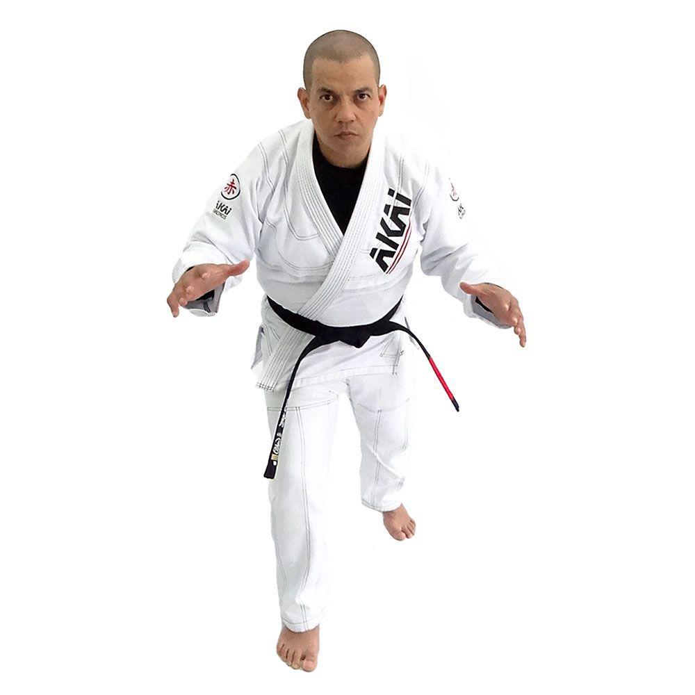 Kimono Jiu Jitsu Akai BJJ - Trançado Branco com Faixa Branca