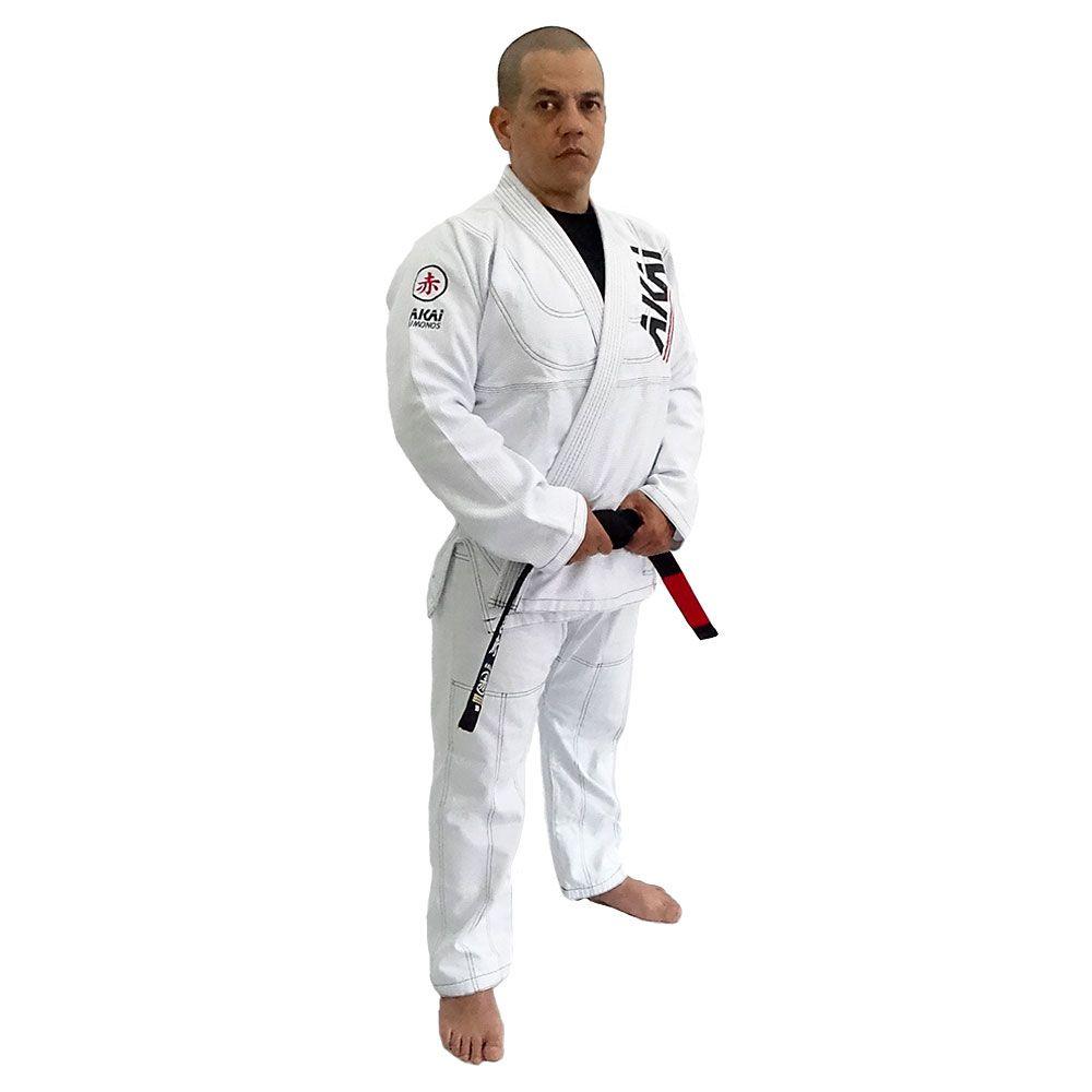 Kimono Jiu Jitsu Akai BJJ - Trançado Branco com Faixa Marron