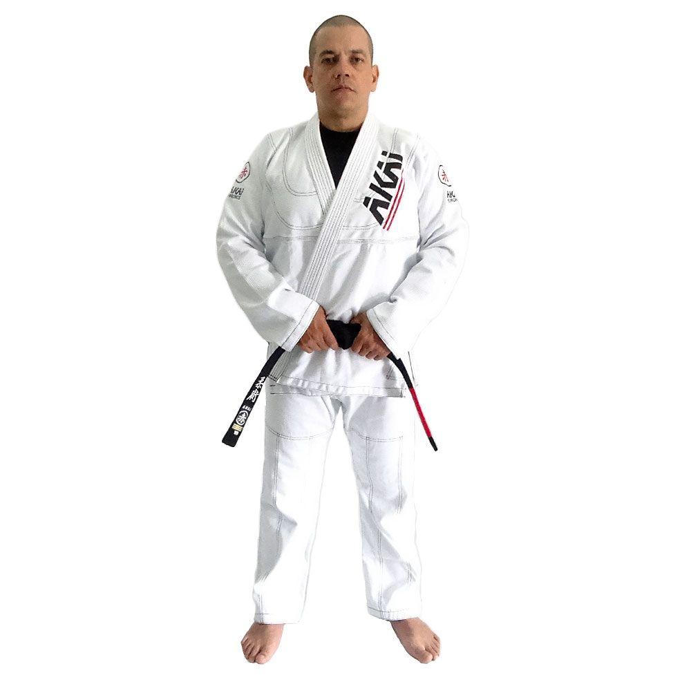 Kimono Jiu Jitsu AKAI LIGHT BJJ - Trançado Branco com Faixa Marron