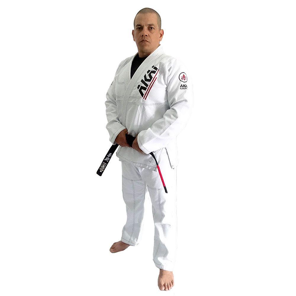 Kimono Jiu Jitsu Akai BJJ - Trançado Branco com Faixa Roxa