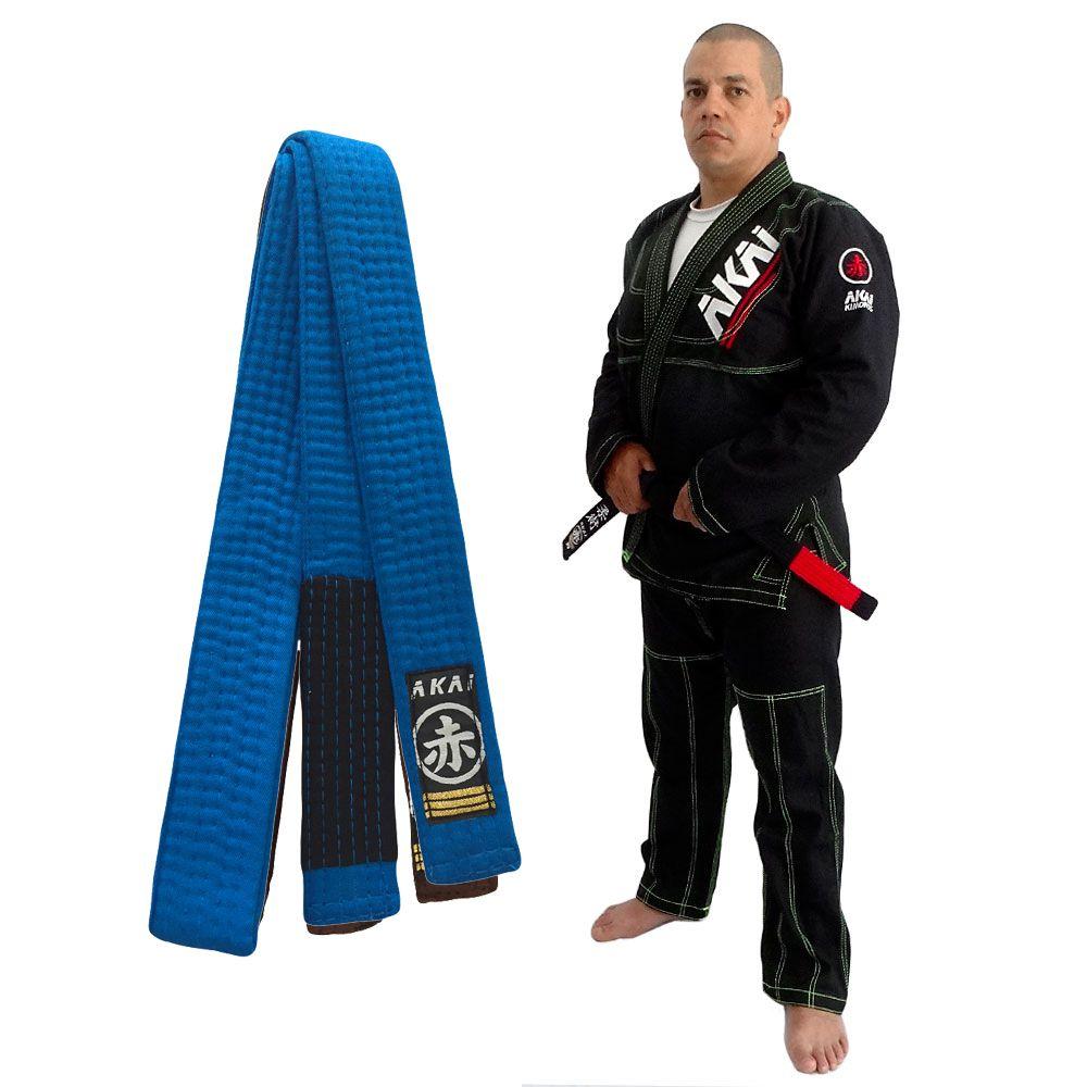Kimono Jiu Jitsu Akai BJJ - Trançado Preto com Faixa Azul