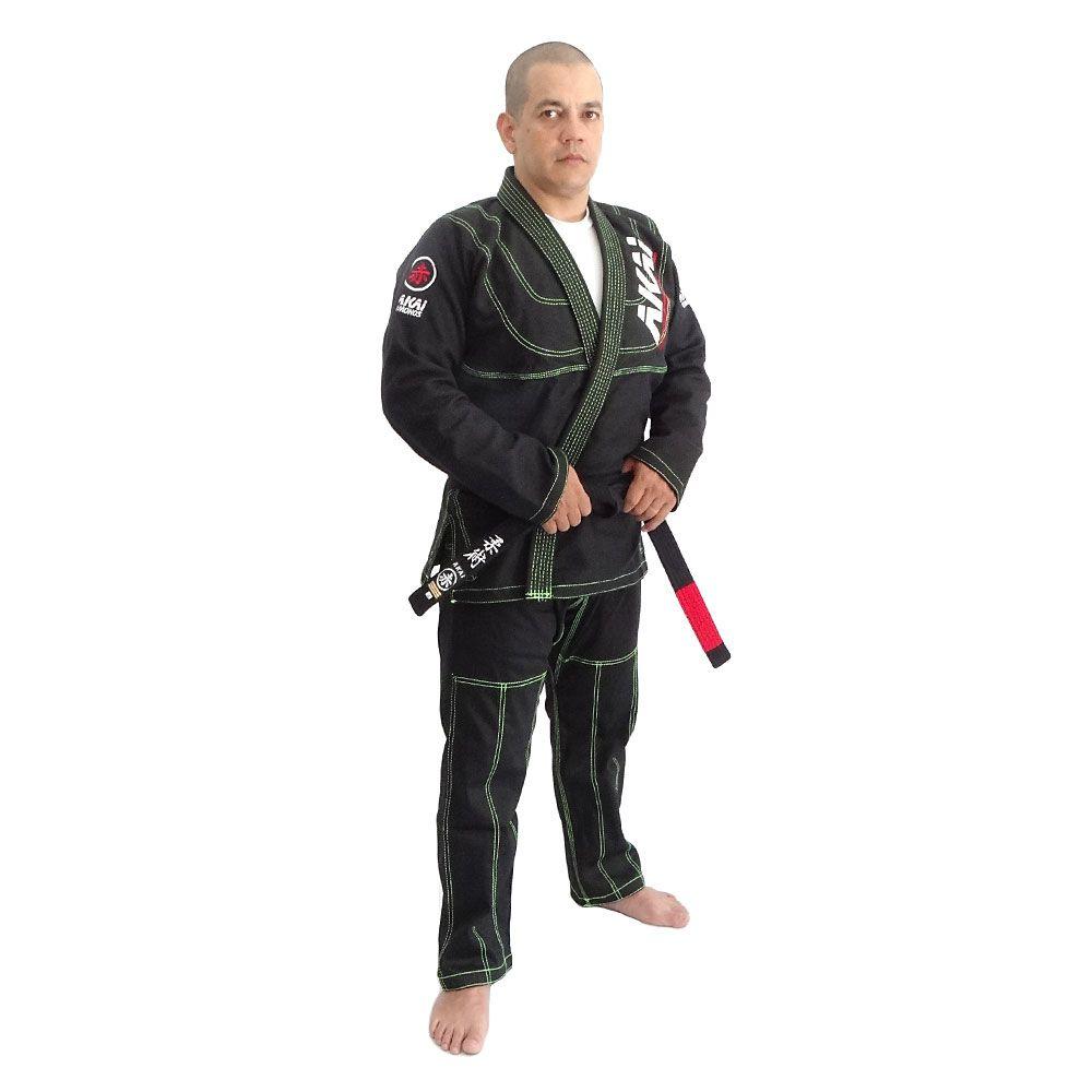 Kimono Jiu Jitsu Akai BJJ - Trançado Preto com Faixa Marron