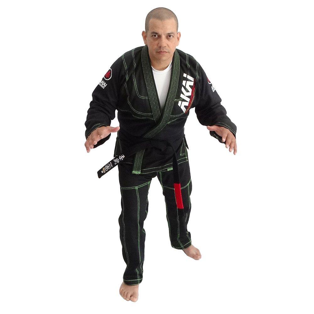 Kimono Jiu Jitsu AKAI LIGHT BJJ - Trançado Preto com Faixa Marron