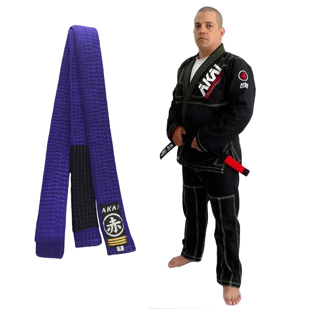 Kimono Jiu Jitsu Akai BJJ - Trançado Preto com Faixa Roxa