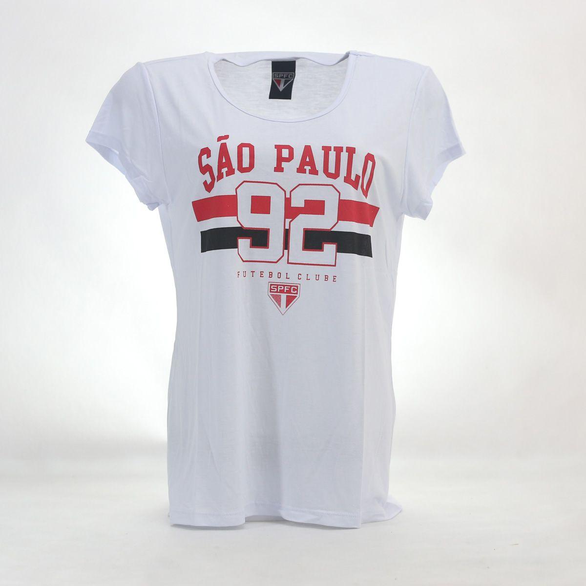 CAMISETA FEMININA SÃO PAULO 92 BRANCA