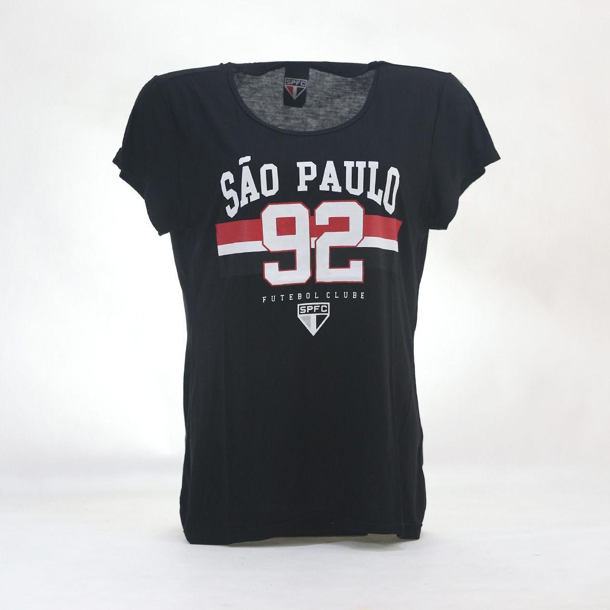 CAMISETA FEMININA SÃO PAULO 92 PRETA