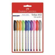 Kit Caneta Esferográfica Trilux 032 10 cores - Faber Castell